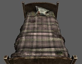 Old bed 3D asset low-poly
