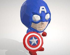 Captain America - LowpolyPOP Figurine 3D printable model