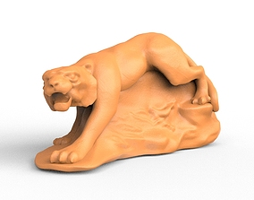 Orange Tiger Statue Model