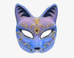3D Half-face kitsune carnival mask