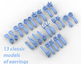 Pack of 13 classic earrings 3D print model