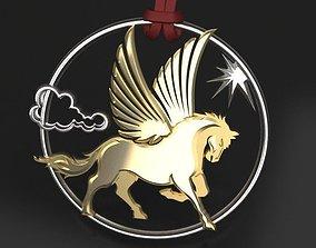 heraldry Pegasus pendant 3D print model