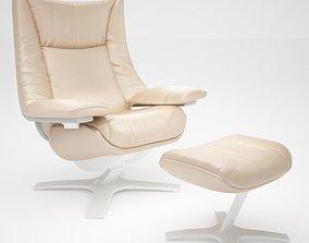 Natuzzi Revive Chair and Ottoman 3D asset