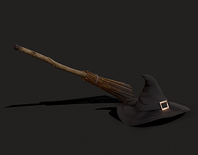 Witch Hat and Broom Stick 3D