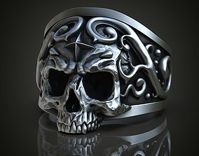 3D print model Ornate Half Skull Ring
