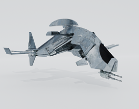 3D LowPoly SpaceShip rigged