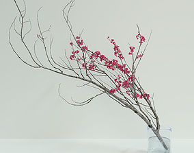 Decorative branch with flowers of sakura 3D model