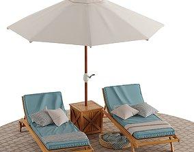Beach lounge outdoor set 5 3D