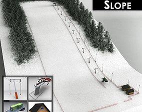 3D model Ski slope lift mountain pack