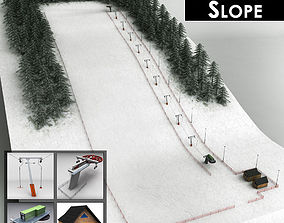 3D model Ski slope lift mountain pack