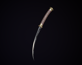 Ancient dagger engraving 3D asset