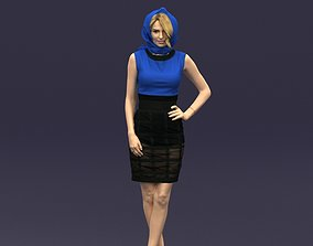 Blue headscarf woman 0426 3D Print ready