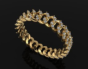 3D print model Cuban Link Diamond Band Ring SIZE 7