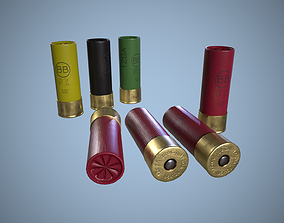 Shotgun Shell cartridge 12 gauge 3D model low-poly