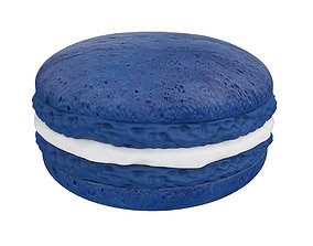 3D Dark blue macaroon with white cream
