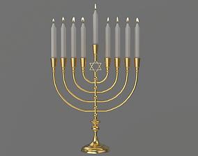 3D model Hanukkah Menorah Candle Holder