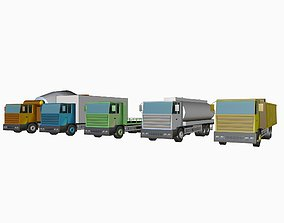 set of low poly 3 axle trucks 3D