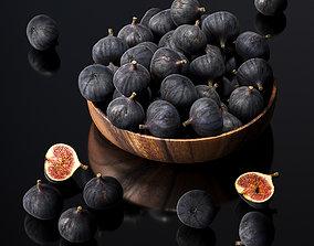 3D model Figs in a wooden bowl