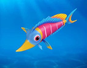 Cartoon Fish02 Rigged Animated 3D model