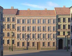 3D model Street Facade Residantial Building Peach