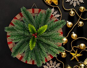 Christmas wreath 3D model rigged
