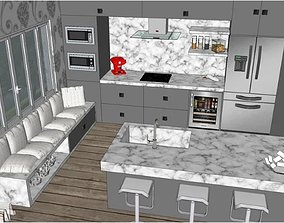 3D model Modern Stylish Fantastic Kitchen with all 1