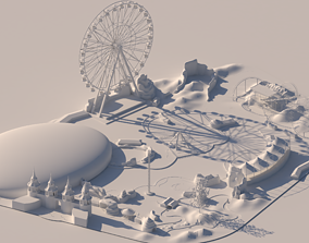 Simple Theme Park design Ferris whee roller 3D model 1