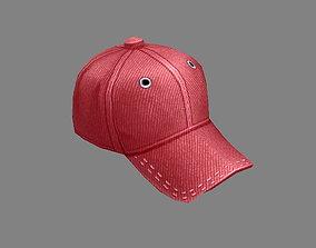 Cartoon red hat - Baseball cap - Sports cap 3D asset