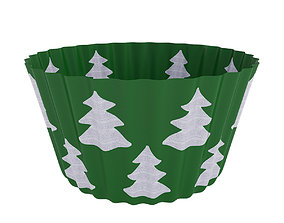 3D model Cupcake case with christmas trees