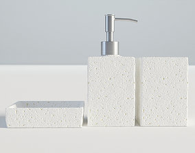 3D Bathroom Set White Concrete