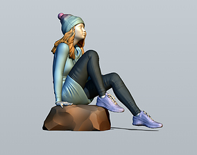 3D printable model Girl sitting on a stone