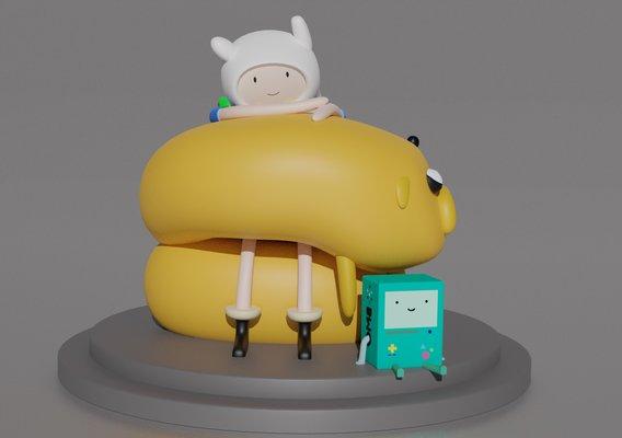 Finn, Jake and BMO 3D print model