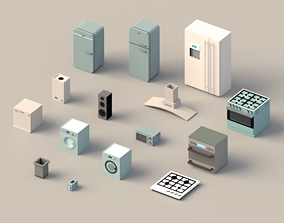 3D model Low poly Home Appliances pack
