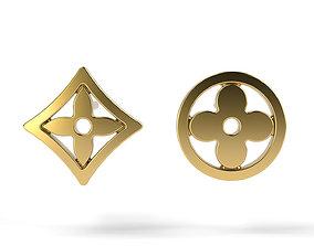 LV Earrings 6 3D print model jewellry