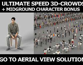 3d crowds and Prime Midground Smart Casual Sitting Man