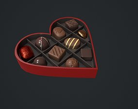 Valentines Chocolate Heart Shaped Box 3D model