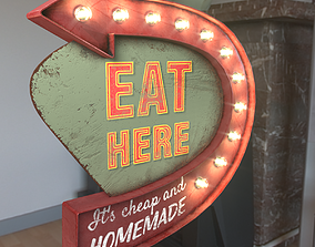 Arrow Sign EAT HERE 3D model
