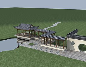 Chinese Style Architecture 3D model traffic