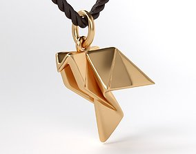 3D printable model gold pendant origami dove of peace