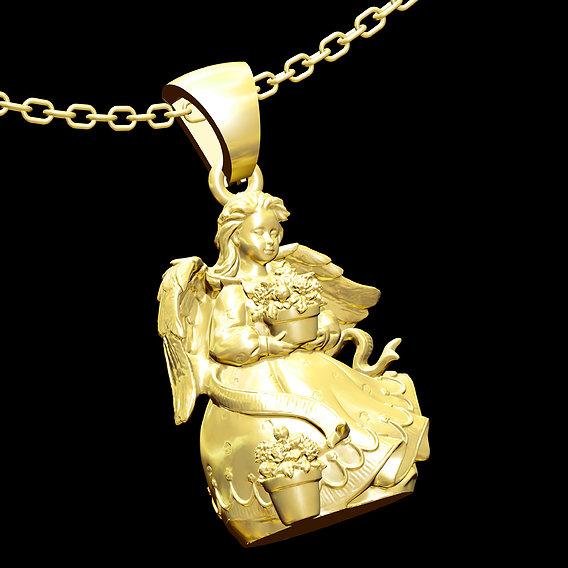 Angel Pot Gotten Pendant jewelry Gold 3D print model