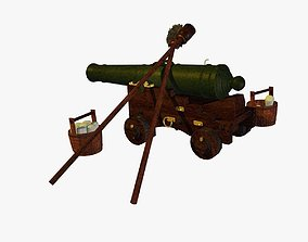 3D English Naval Gun XVIII Century