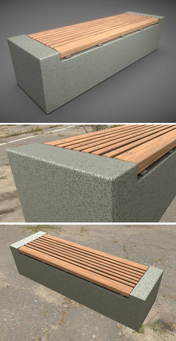 Wood Bench on Concrete Block