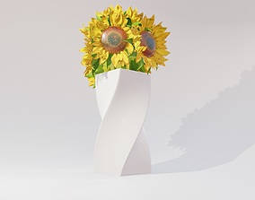 3D model sunflower decoration flower pot