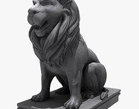 Lion Sitting Statue 3D model