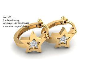 1363 luxury diamond earrings 3D print model