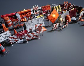 Barriers and Barricades 3D asset low-poly