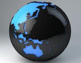 3D Modern Minimalistic Earth Triangulated Design