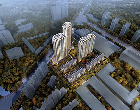3D model modern High-rise residence