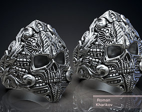 Ring Skull Biomechanics Victorian STL 3d model for 3d