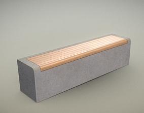 3D asset Wood Bench Oak with Concrete Foundation